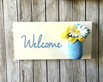 Spring Welcome Sign with Mason Jar Vase - Welcome Mason Jar Sign - Flowers - Welcome Sign - Front Door Decor - Door Sign - Rustic Wood Sign