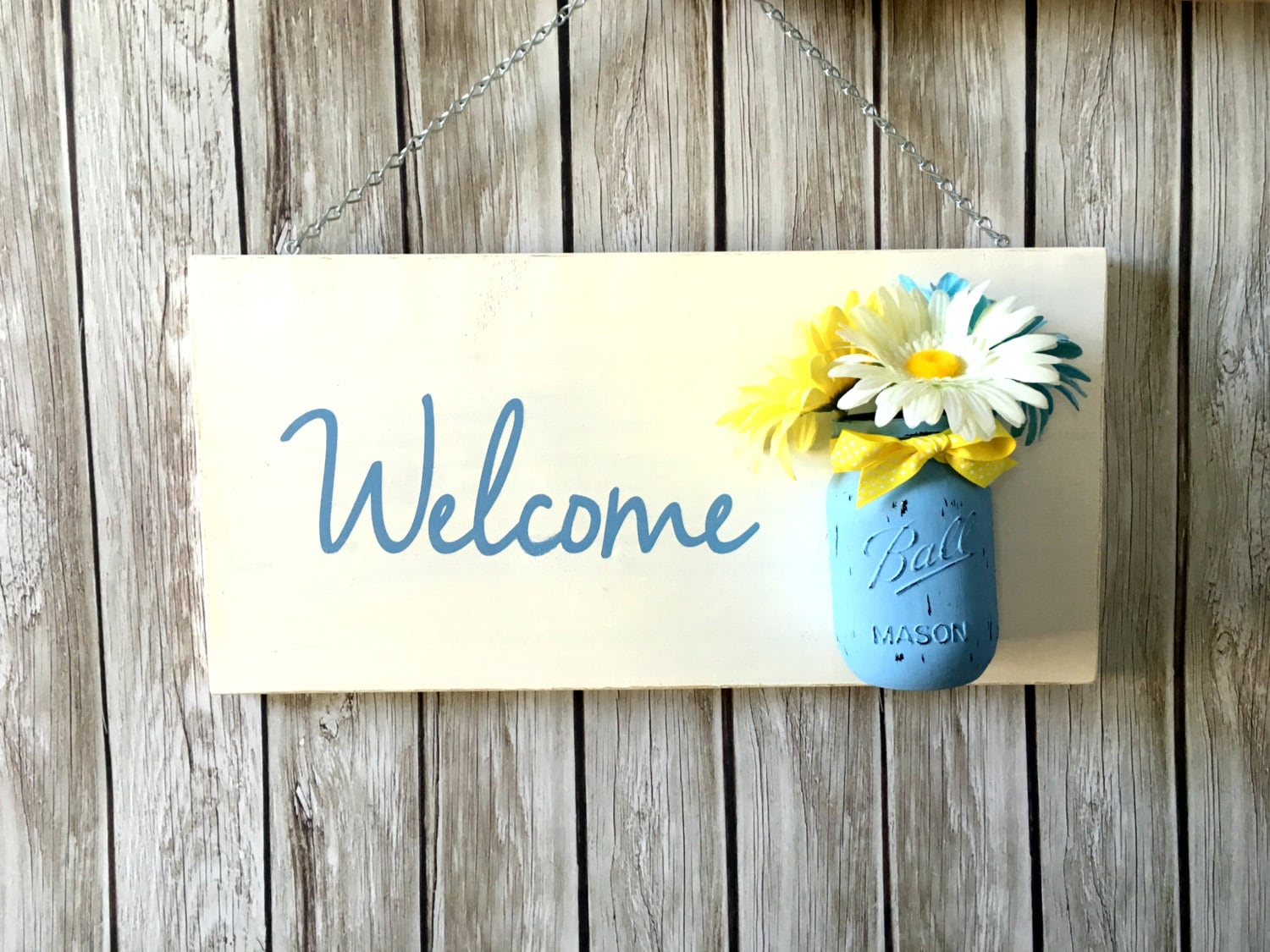 Spring Welcome Sign With Mason Jar Vase