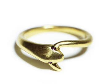Snake Tail Ring in 18K Gold Plate with Red CZ Eyes