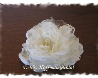 Bridal Hair Flower, Floral Hair Comb, Small Bridal Flower, Wedding Flower Hair Clip, Headpiece with Pearls, Swarovski Crystals, No 1002F2.5