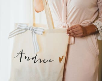 Personalized Bag Gift for Bridesmaids, Tote Bags Canvas w/Striped Ribbon Gift for Wedding Bridal Party, Birthday Gift ( Item - BPB300)