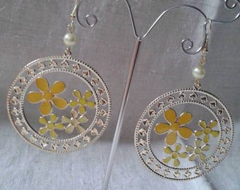 "Earrings ""Golden and yellow flowers"""