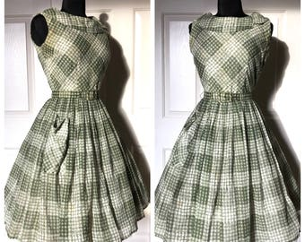 Vintage 1950's Cotton Voile Olive Green Plaid Fit and Flare New Look Day Dress by Manford - size Medium