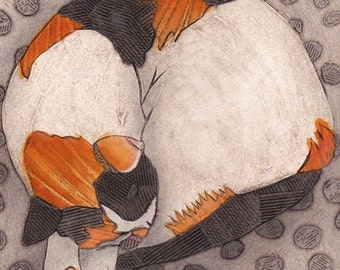 Original Sleeping Cat Collagraph - Widget 3
