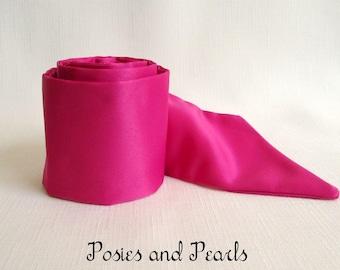 "Hot Pink Satin Sash, Wedding Dress Accessory, Bridal Belt, Matte Satin, Custom Length and Width, ""Cerise Pink Sash"""