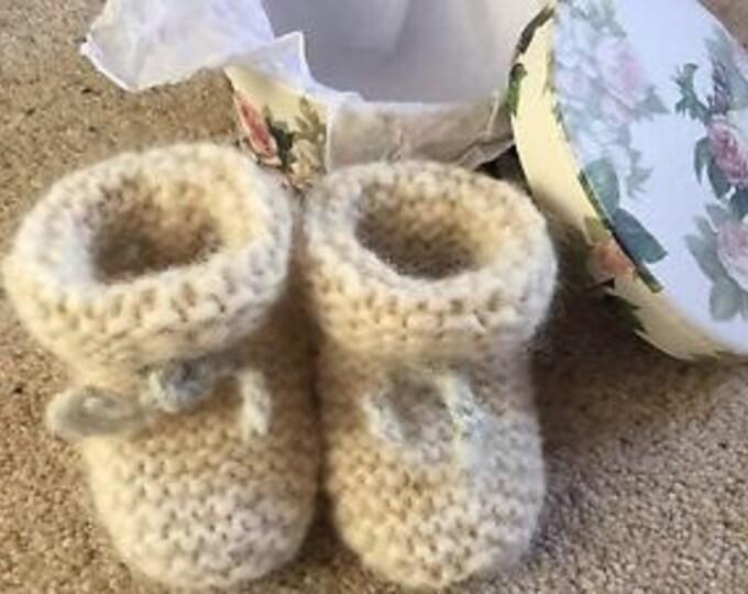 Baby booties - Alpaca & merino wool new born baby booties by Willow Luxury