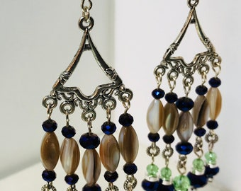 Purple and green chandelier earrings 4.5in with sterling silver components