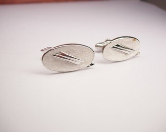 Vintage Modernist Cufflinks Oval Brushed Finish Designer Signed Swank wedding anniversary business