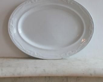 Antique Large Ironstone China White Platter, Oval Dish, Plate