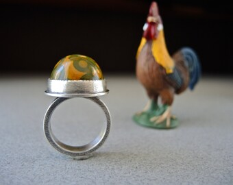 Ocean Jasper, Jasper Ring, Fabricated, Sterling Silver, High Dome, Green, Orange, Rustic ON SALE