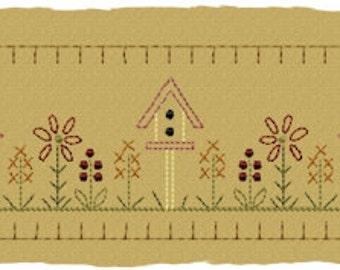 MACHINE EMBROIDERY-Birdhouse Flower Patch Towel Band-5x7 Split (3 parts)-Instant Download