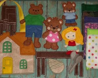 Goldilocks Three Bears Felt Board Flannel Board  Set Busy Quiet Book Classic Story Imagination Teachers Gift Day Care Homeschool Montessori