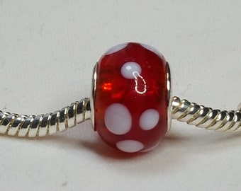 Beautiful Red Murano Glass Bead with white polka dots - Fits all Designer and European Charm Bracelets*
