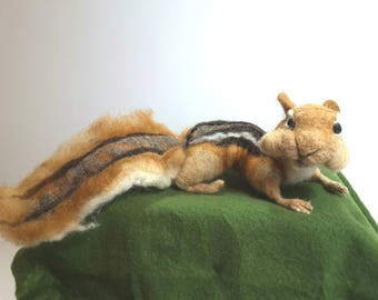 Needle Felted Chipmunk Sculpture - Made to Order