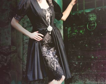 Set Retro / pinup / gothic dress in lace & sur-robe - all sizes