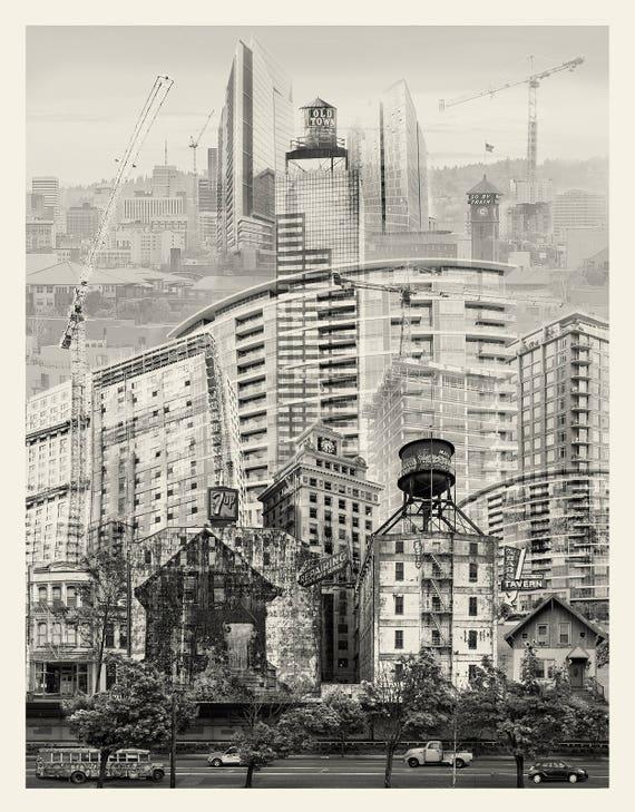 Portland Fine Art Photography - Portland in Flux -- Photomontage -- Original Artwork -- Photo Collage