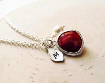 Garnet Necklace, January Birthstone Necklace, Personalized Necklace, Birthstone Jewelry, January Birthday Jewelry, Simulated Garnet Jewelry