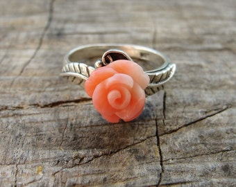 Sterling Silver Coral Ring Rose with Leaves Sea Treasure Collection US size 7.5 One of a Kind
