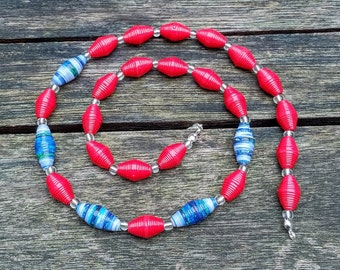 Handmade necklace with blue - green - grey - red recycled paper and silver glass beads