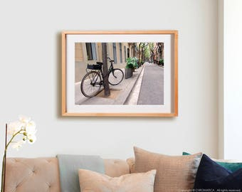 Barna Bike Print.  Urban photography, bicycle, Barcelona, quaint, street, decor, wall art, artwork, large format photo.
