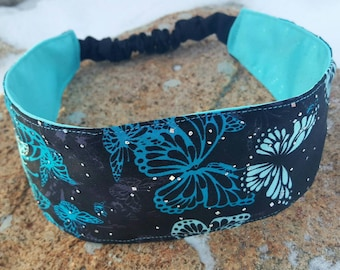 Black & Turquoise Satin Headband, Ladies reversible Butterfly Headband