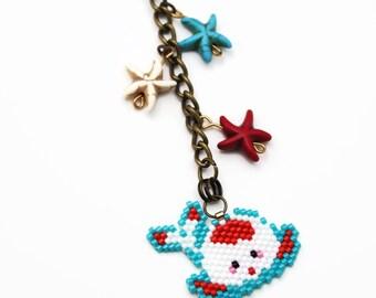 Chubby Koi Charm, Cute Keychain, Kawaii Planner Charm, Colorful Purse Charm