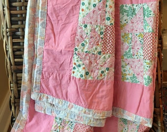 Vintage Feedsack Lap Quilt - Pink Summer Weight - Patchwork Feed Sacks - Hand Stitching - Crib Quilt