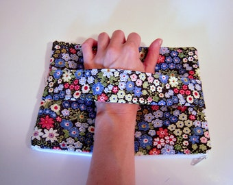 Blue Floral Clutch with Front Handle