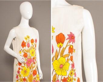 MOD Pop 60s PSYCH Flowers Yellow Orange Pink Shift Dress UK 12