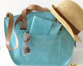 BOHO genuine leather bag Caraibi teal colour