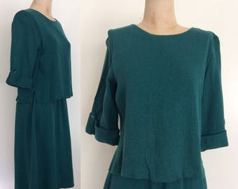 1960's Teal Green Dress w/ Floating Top Size Medium Large by Maeberry Vintage