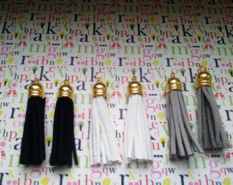 set of 2 leather suede Cap 5 cm tassel golden colours white, grey or black for sewing, jewelry or crafting