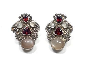 Stunning Designer SAJEN Ruby & Moonstone Sterling Silver Signed Clip On Earrings
