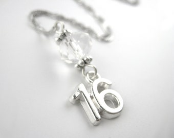 Sweet 16 Gift Girls - Sweet 16 Jewelry - Number 16 Necklace - Birthday Gift - Sterling Silver