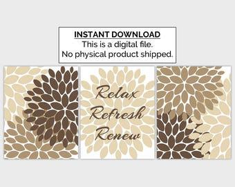 Relax Refresh Renew Print, Bathroom Printable, 8x10, Set of 3, Instant Download, Flower Bursts Wall Decor, Khaki Tan Brown Bathroom Wall Art