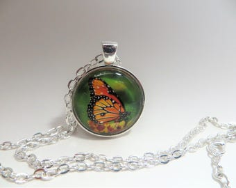 Orange Butterfly, Pendant, Necklace, silver tone, 24 inch rolo chain, gift for her