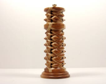 Unique Salt or Pepper grinder  traditional (salt)or (pepper) multiwood combination of Canarywood,Bocote and Maple, uniquely designed by me.
