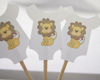 Baby Shower, Cupcake Toppers, Baby Shirt, Yellow Lion, Boy, Girl, Gender Reveal, Party Picks, Food Picks, Qty. 12 CT029