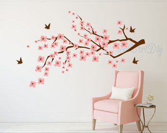 Cherry blossom wall decal Cherry tree branch wall decal Pink cherry blossom wall murals Nursery wall sticker Tree and birds wall decal-4