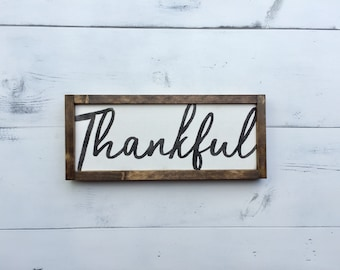 Thankful (Small Version) - Wooden Sign