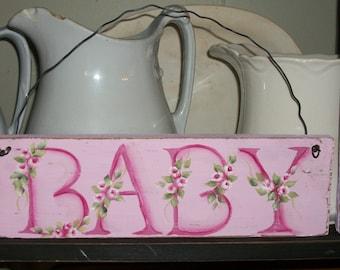 Shabby roses Baby girl shower sign, baby shower, nursery decor, baby gift,baby decor, baby shower decor, pink baby, baby girl sign, baby
