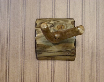 Rustic Shower Bath Branched Peg Towel/Robe Hook (Log Back)