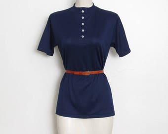 1970s Mock Collar Top / Navy Blue Short Sleeved Pullover / Vintage 70s Women's Fitted Shirt