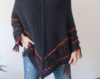 Poncho pure wool - hand knit - ethnic - bohème - tunic sweater