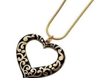 Art Deco Heart Necklace - Black and Gold Scroll Heart Pendant - Filigree - Heart Jewelry - Valentines Day - Heart Pendant