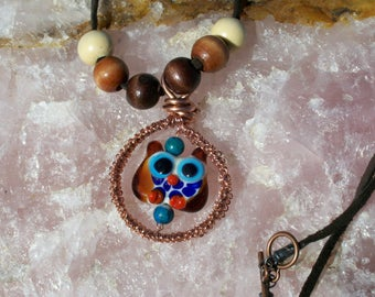 Handmade Glass Lampwork Owl Bead Pendant Necklace With Copper Wire and Leather