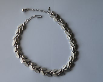 Trifari  Leaf Choker Necklace. Brushed silver plated.