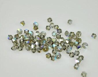 50 Black Diamond AB Swarovski Crystals - 4mm Bicone