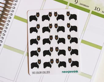 Tri-Color Collie Dog Stickers (Set of 20 Stickers)