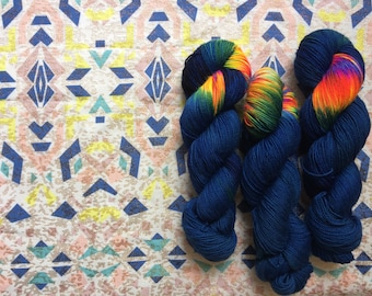 NEW Hand dyed sock yarn dark Cosmic girl, 4ply finger weight superwash BFL and nylon high twist  100g. BFL is a British breed.
